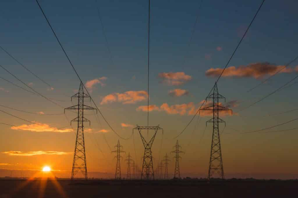 electricity transmitted at high voltages