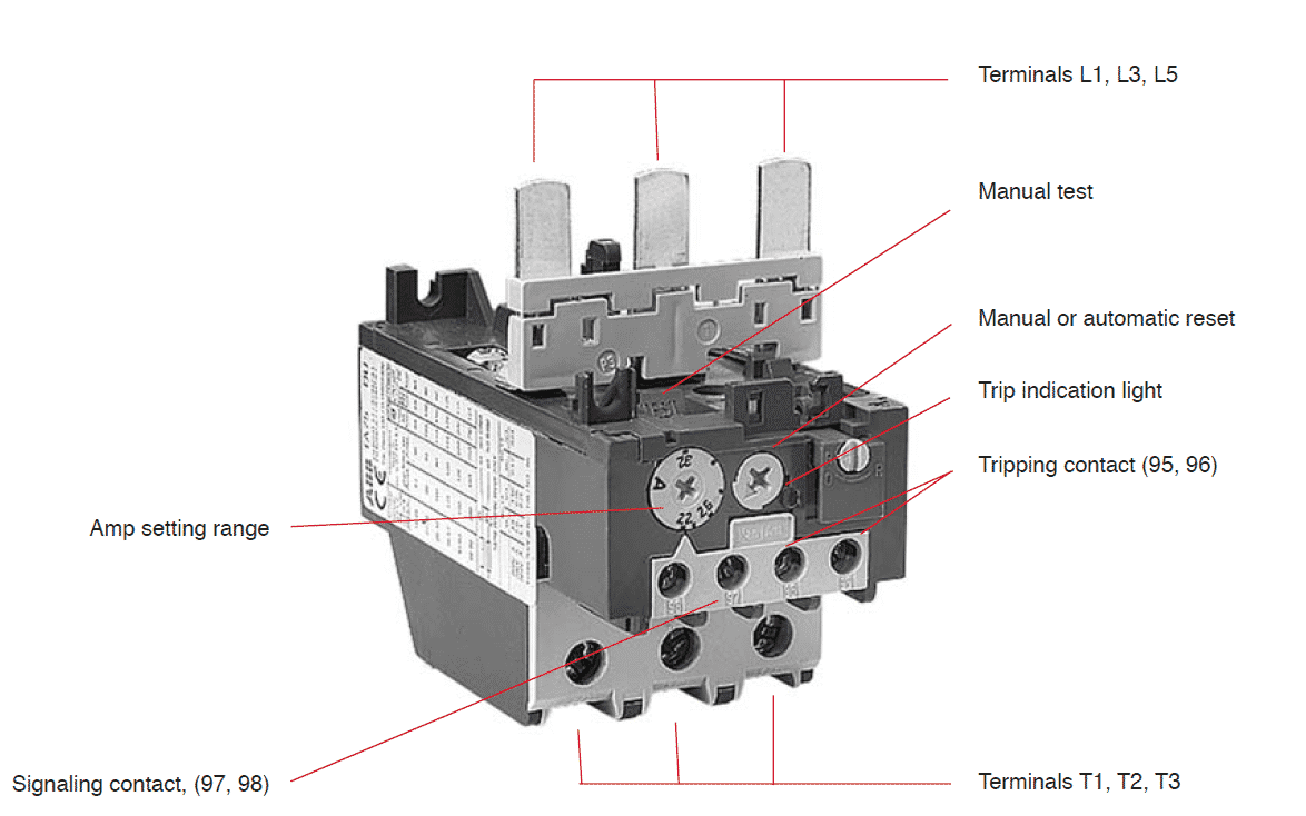 Parts of an overload relay