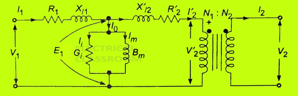 Equivalent circuit of transformer simplified