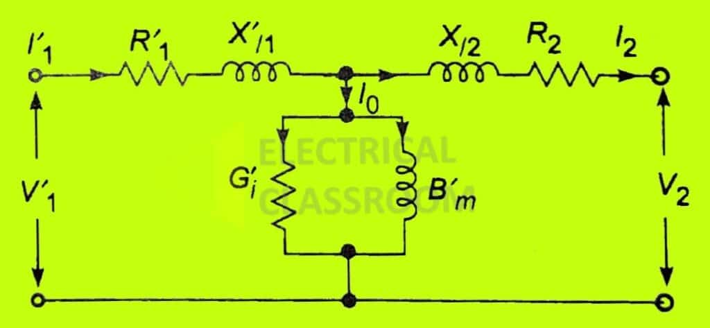Equivalent circuit referred to secondary
