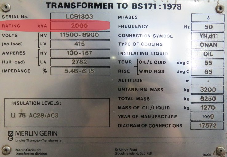 kVA rating of transformer with nameplate
