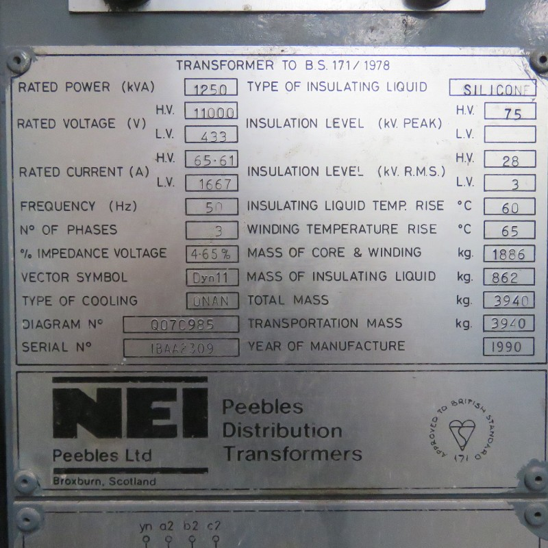 Nameplate details of a transformers - sizing of transformers