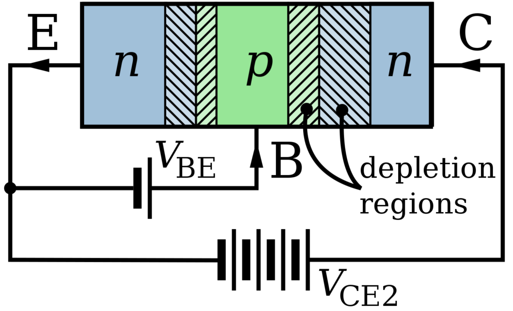 PNP transistor terminals and connection