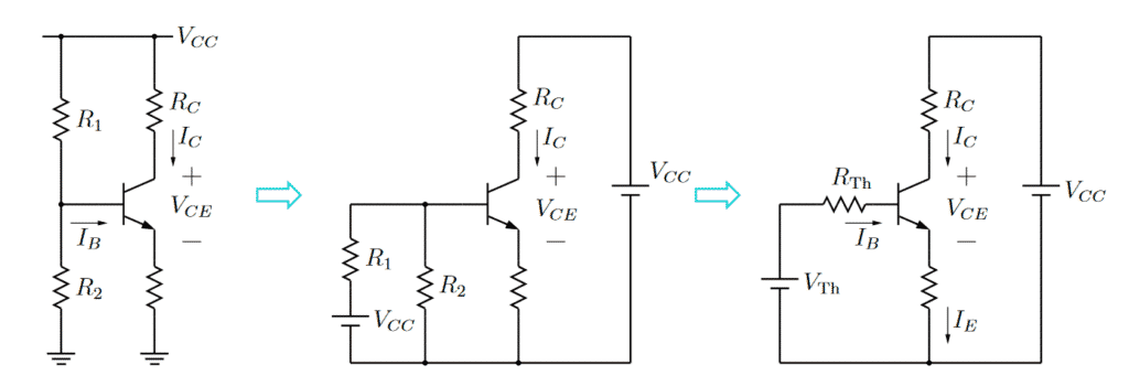 DC Bias computation for the common-emitter amplifier with finite base current