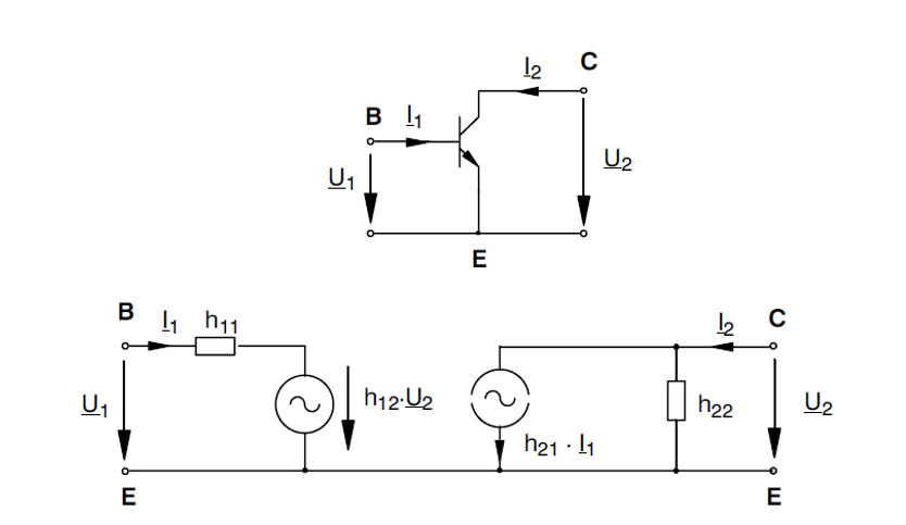 The equivalent circuit diagram with h parameters for the Emitter circuit